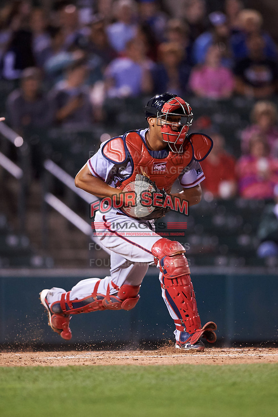 Syracuse Chiefs catcher Pedro Severino (4) check the runner during a game against the Rochester Red Wings on July 1, 2016 at Frontier Field in Rochester, New York.  Rochester defeated Syracuse 5-3.  (Mike Janes/Four Seam Images)