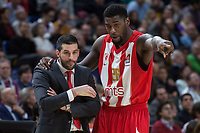 Crvena Zvezda coach Dusan Alimpijevic and Mathias Lessort during Turkish Airlines Euroleague match between Real Madrid and Crvena Zvezda at Wizink Center in Madrid, Spain. December 01, 2017. (ALTERPHOTOS/Borja B.Hojas) /NortePhoto.com NORTEPHOTOMEXICO