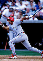 Juan Gonzalez of the Texas Rangers plays in a baseball game at Edison International Field during the 1998 season in Anaheim, California. (Larry Goren/Four Seam Images)