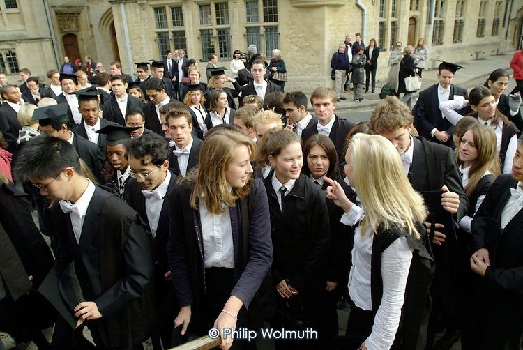 First year students at Oxford arrive at the Sheldonian Theatre for  matriculation, the ceremony which marks their formal induction as members of the university.