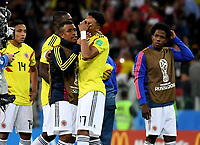 MOSCU - RUSIA, 03-07-2018: Johan MOJICA y Farid DIAZ jugadores de Colombia lucen decepcionados después del partido de octavos de final entre Colombia y Inglaterra por la Copa Mundial de la FIFA Rusia 2018 jugado en el estadio del Spartak en Moscú, Rusia. / Johan MOJICA and Farid DIAZ players of Colombia look disappointed after the match between Colombia and England of the round of 16 for the FIFA World Cup Russia 2018 played at Spartak stadium in Moscow, Russia. Photo: VizzorImage / Julian Medina / Cont