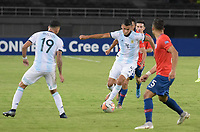 PEREIRA - COLOMBIA, 24-01-2020: Marcelo Herrera de Argentina en acción durante partido entre Chile y Argentina por la fecha 3, grupo A, del CONMEBOL Preolímpico Colombia 2020 jugado en el estadio Hernán Ramírez Villegas de Pereira, Colombia. / Marcelo Herrera of Argentina in action during the match between Chile and Argentina for the date 3, group A, for the CONMEBOL Pre-Olympic Tournament Colombia 2020 played at Hernan Ramirez Villegas stadium in Pereira, Colombia. Photos: VizzorImage / Mauricio Ortiz / Cont