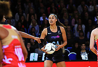 Maria Tutaia looks for support during the Taini Jamieson Trophy Series netball match between the New Zealand Silver Ferns and England Roses at Te Rauparaha Arena in Porirua, New Zealand on Wednesday, 7 September 2017. Photo: Dave Lintott / lintottphoto.co.nz