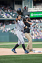 Ichiro Suzuki (Marlins),<br /> AUGUST 7, 2016 - MLB :<br /> Ichiro Suzuki of the Miami Marlins tips his helmet to fans after hitting a triple for his 3000th career hit in MLB in the seventh inning during the Major League Baseball game against the Colorado Rockies at Coors Field in Denver, Colorado, United States. (Photo by Thomas Anderson/AFLO) (JAPANESE NEWSPAPER OUT)
