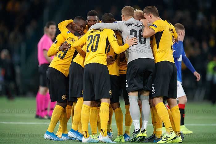 03.10.2019 Young Boys of Bern v Rangers: Young Boys celebrate with a huddle