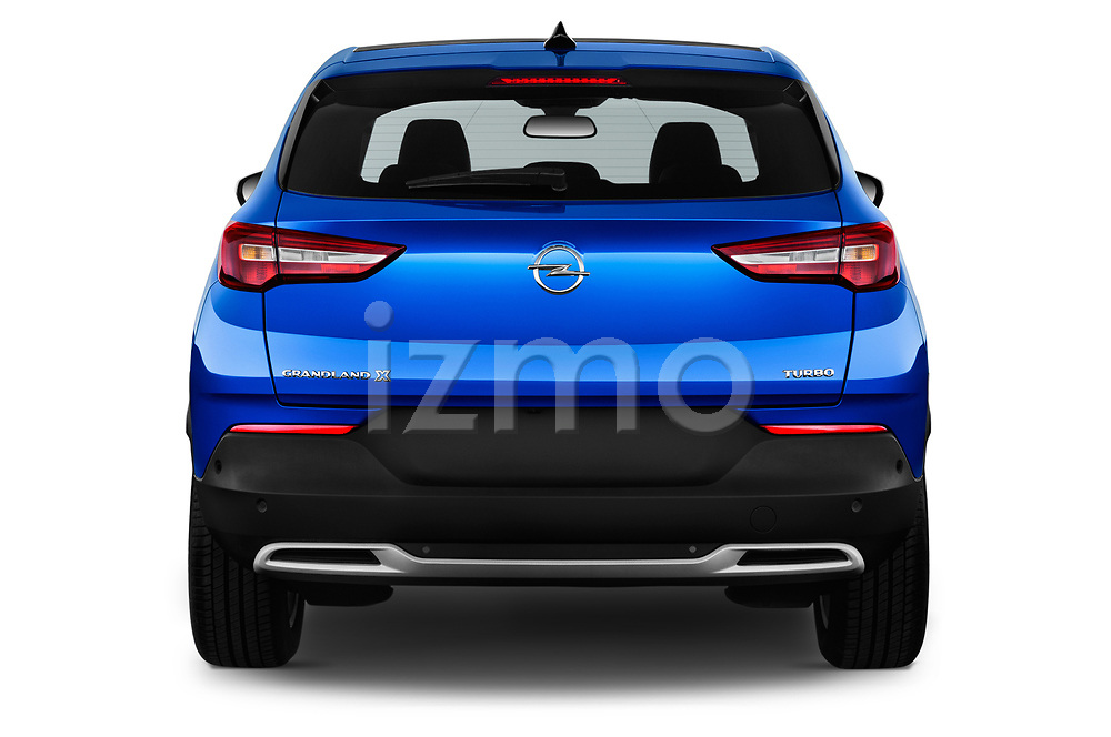 Straight rear view of a 2018 Opel Grandland X Innovation 5 Door SUV stock images