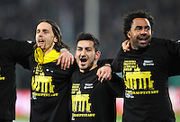 FUSSBALL   DFB POKAL   SAISON 2011/2012   HALBFINALE SpVgg Greuther Fuerth - Borussia Dortmund                  20.03.2012 Jubel nach dem Sieg, Neven Subotic, Ilkay Guendogan, Patrick Owomoyela (v. li., Borussia Dortmund)