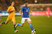 June 13th 2017, Melbourne Cricket Ground, Melbourne, Australia; International Football Friendly; Brazil versus Australia; Rodrigo Caio Russo of Brazil breaks forward with the ball