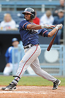 Rome Braves Edward Salcedo #1 swings at a pitch during  a game against  the Asheville Tourists at McCormick Field in Asheville,  North Carolina;  May 18, 2011. The Braves won the game 8-7.  Photo By Tony Farlow/Four Seam Images