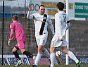 Ayr Utd's Michael Moffat (9) celebrates with Michael Donald (11) after he scores their first goal.
