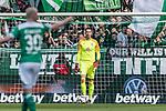 13.04.2019, Weserstadion, Bremen, GER, 1.FBL, Werder Bremen vs SC Freiburg<br /> <br /> DFL REGULATIONS PROHIBIT ANY USE OF PHOTOGRAPHS AS IMAGE SEQUENCES AND/OR QUASI-VIDEO.<br /> <br /> im Bild / picture shows<br /> Jiri Pavlenka (Werder Bremen #01) im Tor, <br /> <br /> Foto &copy; nordphoto / Ewert