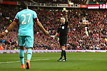 West Ham?s Dimitri Payet is shown a yellow card by referee Martin Atkinson during the Emirates FA Cup match at Old Trafford. Photo credit should read: Philip Oldham/Sportimage