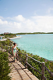 EXUMA, Bahamas. Nicole on a balcony of one of the villas at the Fowl Cay Resort.