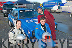 3077-3079.Wheel Nuts: Killarney rally team of Gemma Kissane (navigator), Garry Dineen and Fergus O'Connor (driver) before the start of the Circuit of Kerry car rally last Sunday morning.