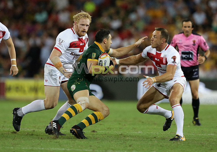 Australia's Billy Slater is tackled by England's James Graham, left, and James Roby, right, during the Rugby League World Cup final between Australia and England, Suncorp Stadium, Brisbane, Australia, 2 December 2017. Copyright Image: Tertius Pickard / www.photosport.nz MANDATORY BYLINR/CREDIT : Tertius Pickard/SWpix.com/PhotosportNZ