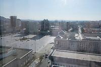 Mongolia, Ulaanbaatar. View of Sukhbaatar Square from Best Western Tuushin Hotel.