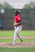 Billings Mustangs starting pitcher Luis Alecis (56) delivers a pitch during a Pioneer League game against the Ogden Raptors at Lindquist Field on August 17, 2018 in Ogden, Utah. The Billings Mustangs defeated the Ogden Raptors by a score of 6-3. (Zachary Lucy/Four Seam Images)