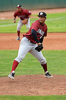 Idaho Falls Chukars relief pitcher Josiel Martinez #9 in action against the Ogden Raptors at Lindquist Field on June 23, 2013 in Ogden, Utah. (Stephen Smith/Four Seam Images)