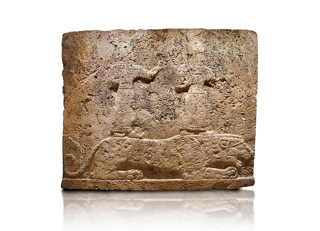 Hittite relief sculpted orthostat stone panel of Long Wall Limestone, Karkamıs, (Kargamıs), Carchemish (Karkemish), 900-700 B.C. Anatolian Civilisations Museum, Ankara, Turkey<br /> <br /> Two figures lying over the lion. There is a crescent at the head of the winged god at the front. It is thought that the figure at the front is moon god and the one at the rear is sun god. <br /> <br /> On a White Background.