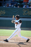 David Banuelos (6) of the Long Beach State Dirtbags bats against the Arizona State Sun Devils at Blair Field on February 27, 2016 in Long Beach, California. Long Beach State defeated Arizona State, 5-2. (Larry Goren/Four Seam Images)