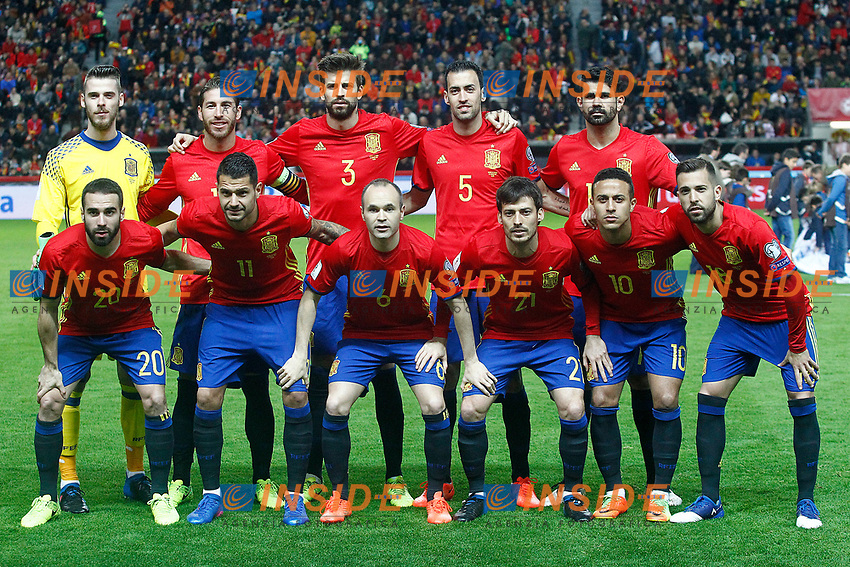 Spain's team photo with David De Gea, Sergio Ramos, Gerard Pique, Sergio Busquets, Diego Costa, Daniel Carvajal, Vitolo, Andres Iniesta, David Jimenez Silva, Thiago Alcantara and Jordi Alba during FIFA World Cup 2018 Qualifying Round match. <br /> Gijon 24-03-2017 Stadio El Molinon <br /> Qualificazioni Mondiali <br /> Spagna - Israele <br /> Foto Acero/Alterphotos/Insidefoto <br /> ITALY ONLY