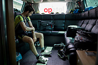 Simon Yates (GBR/Mitchelton-Scott) getting some sunscreen on in the back of the teambus before the start of the race<br /> <br /> Stage 3: Binche (BEL) to Épernay (FRA) (214km)<br /> 106th Tour de France 2019 (2.UWT)<br /> <br /> ©kramon