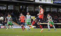 Danny Hylton of Luton Town converts the penalty to put his side into the lead during the Sky Bet League 2 match between Yeovil Town and Luton Town at Huish Park, Yeovil, England on 4 March 2017. Photo by Liam Smith / PRiME Media Images.