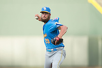 Myrtle Beach Pelicans starting pitcher Trevor Clifton (29) in action against the Winston-Salem Dash at BB&T Ballpark on July 7, 2016 in Winston-Salem, North Carolina.  The Dash defeated the Pelicans 13-9.  (Brian Westerholt/Four Seam Images)