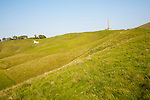 Scarp slope of White Horse on Cherhill Down and Lansdowne monument, Cherhill, Wiltshire, England, UK