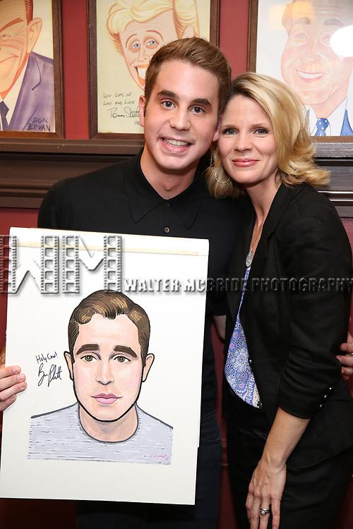 Ben Platt and Kelli O'Hara attend the Ben Platt Sardi's Portrait unveiling at Sardi's on May 30, 2017 in New York City.