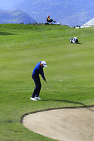 Benjamin Hebert (FRA) chips into the 7th green during Thursday's Round 1 of the 2017 Omega European Masters held at Golf Club Crans-Sur-Sierre, Crans Montana, Switzerland. 7th September 2017.<br /> Picture: Eoin Clarke | Golffile<br /> <br /> <br /> All photos usage must carry mandatory copyright credit (&copy; Golffile | Eoin Clarke)
