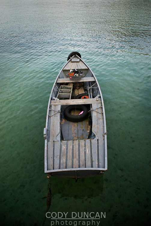 Small wooden boat in lac d'Annecy, Annecy, France