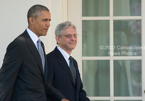 United States President Barack Obama, left, and Judge Merrick Garland, chief justice for the US Court of Appeals for the District of Columbia Circuit, right, walk on the Colonnade just prior to the announcement of Garland as the President's nominee to replace the late Associate Justice Antonin Scalia on the U.S. Supreme Court in the Rose Garden of the White House in Washington, D.C. on Wednesday, March 16, 2016. <br /> Credit: Ron Sachs / CNP