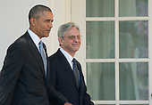 United States President Barack Obama, left, and Judge Merrick Garland, chief justice for the US Court of Appeals for the District of Columbia Circuit, right, walk on the Colonnade just prior to the announcement of Garland as the President's nominee to replace the late Associate Justice Antonin Scalia on the U.S. Supreme Court in the Rose Garden of the White House in Washington, D.C. on Wednesday, March 16, 2016. <br />