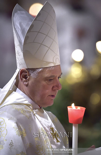cardinal Gerhard Ludwig Muller,, during the Easter vigil mass in Saint Peter's Basilica, in the Vatican,.April 4,2015