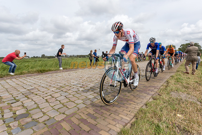 Team Great Britain on the front of the bunch during the Elite Men's Road Race during the 2019 UEC European Road Championships, Alkmaar, The Netherlands, 11 August 2019.<br /> <br /> Photo by Thomas van Bracht / PelotonPhotos.com | All photos usage must carry mandatory copyright credit (Peloton Photos | Thomas van Bracht)