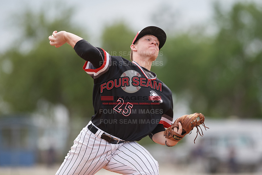 Edgewood Eagles relief pitcher Trey Hunt (25) during a game against the Babson Beavers on March 18, 2019 at Lee County Player Development Complex in Fort Myers, Florida.  Babson defeated Edgewood 23-7.  (Mike Janes/Four Seam Images)