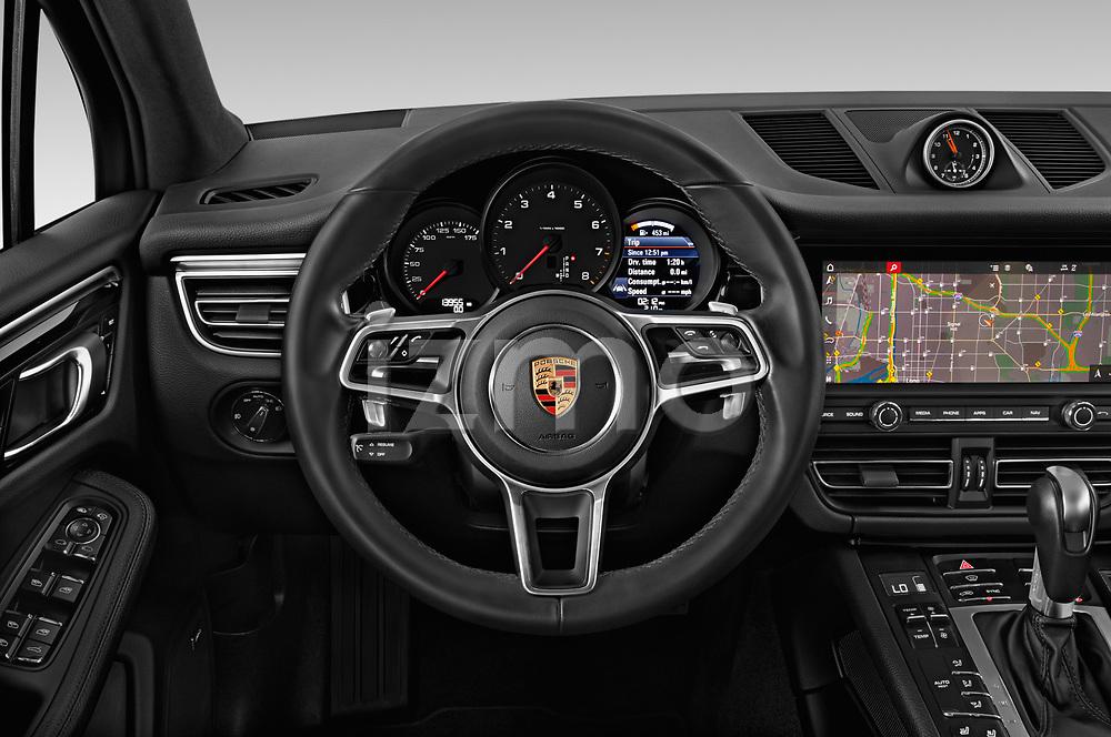 Car pictures of steering wheel view of a 2019 Porsche Macan Base 5 Door SUV