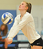 Maelyn Latko #1 of Whitman makes a dig during a non-league varsity girls volleyball match against Centereach at New York Institute of Technology in Old Westbury on Wednesday, Sept. 20, 2017. Whitman rallied from a two-set deficit to win 21-25, 16-25, 25-16, 25-22, 25-19.