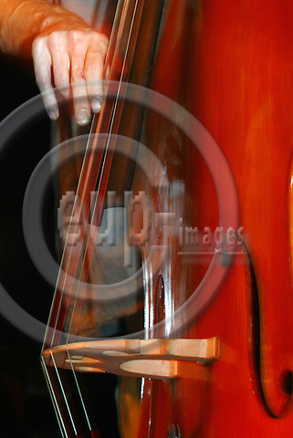 BRUSSELS - BELGIUM - 11 FEBUARY 2004--A jazz contrabass player fiddling the strings.-- PHOTO: JUHA ROININEN / EUP-IMAGES
