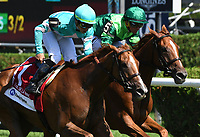 Uni (GB) (no. 1), ridden by Irad Ortiz Jr. and trained by Chad Brown, wins the 15th running of the De La Rose Stakes for fillies and mares four years old and upward on August 04, 2018 at Saratoga Race Course in Saratoga Springs, New York. (Bob Mayberger/Eclipse Sportswire)