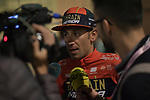Vincenzo Nibali (ITA) Bahrain-Merida talks to the media backstage at the Teams Presentation held in Piazza Maggiore Bologna before the start of the 2019 Giro d'Italia, Bologna, Italy. 9th May 2019.<br /> Picture: Marco Alpozzi/LaPresse | Cyclefile<br /> <br /> All photos usage must carry mandatory copyright credit (&copy; Cyclefile | Marco Alpozzi/LaPresse)