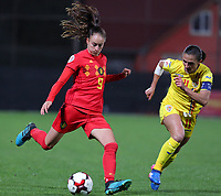 20191008 CLUJ NAPOCA: Belgium's Tessa Wullaert (9) is getting ready to kick the ball and Romania's Florentina Olar (11) is trying to defend at the match between Belgium Women's National Team and Romania Women's National Team as part of EURO 2021 Qualifiers on 8th of October 2019 at CFR Stadium, Cluj Napoca, Romania. PHOTO SPORTPIX | SEVIL OKTEM