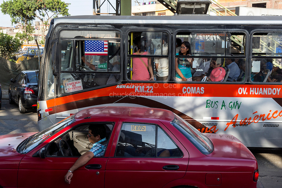 Lima, Peru.  Morning Traffic Heading into Central Lima from the Airport.