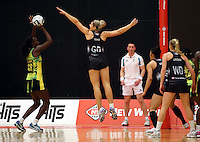 17.09.2016 Silver Ferns Storm Purvis and Jamacia's Shantal Slater in action during the Taini Jamison netball match between the Silver Ferns and Jamaica played at the Energy Events Centre in Rotorua. Mandatory Photo Credit ©Michael Bradley.