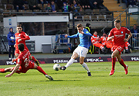 Felix Platte (SV Darmstadt 98) zieht ab gegen Robert Tesche (VfL Bochum) und Vitaly Janelt (VfL Bochum) - 07.03.2020: SV Darmstadt 98 vs. VfL Bochum, Stadion am Boellenfalltor, 2. Bundesliga<br /> <br /> DISCLAIMER: <br /> DFL regulations prohibit any use of photographs as image sequences and/or quasi-video.