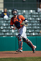 Illinois Fighting Illini catcher Jacob Campbell (9) tracks a pop fly during the game against the West Virginia Mountaineers at TicketReturn.com Field at Pelicans Ballpark on February 23, 2020 in Myrtle Beach, South Carolina. The Fighting Illini defeated the Mountaineers 2-1.  (Brian Westerholt/Four Seam Images)