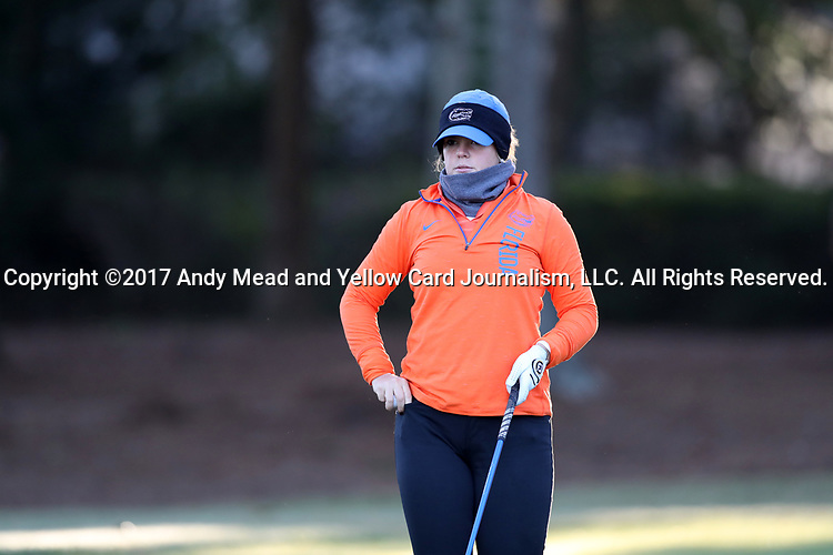 WILMINGTON, NC - OCTOBER 27: Florida's Marta Perez (ESP) on the 10th tee. The first round of the Landfall Tradition Women's Golf Tournament was held on October 27, 2017 at the Pete Dye Course at the Country Club of Landfall in Wilmington, NC.