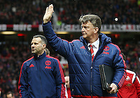 Manchester United manager Louis van Gaal waves to the fans during the Barclays Premier League match between Manchester United and Swansea City played at Old Trafford, Manchester on January 2nd 2016