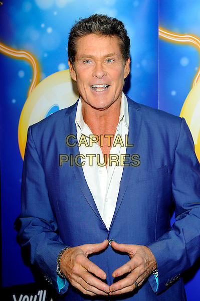 David Hasselhoff .at launch of GalaBingo.com's new scratchcard, Vanilla, London, England, UK, 8th February 2013..half length hands suit blue jacket white shirt .CAP/CJ.©Chris Joseph/Capital Pictures.